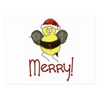 Funny Whimsical Bee Merry Christmas Holiday Postcard