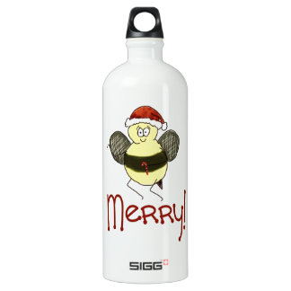 Funny Whimsical Bee Merry Christmas Holiday Water Bottle
