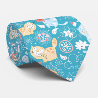 Funny Whimsical Cartoon cat doodle illustration Neck Tie