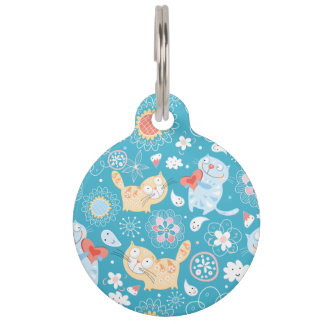 Funny Whimsical Cartoon cat doodle illustration Pet Tag