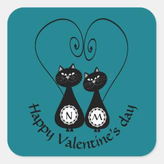 Funny whimsical cat love couple monogram square sticker