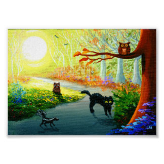 Funny Whimsical Cat Owl Skunk Raccoon Forest Poster