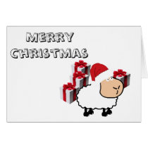 Funny whimsical cute Christmas sheep Card