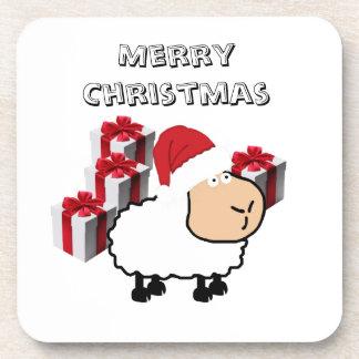 Funny whimsical cute Christmas sheep Coaster