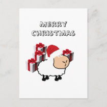 Funny whimsical cute Christmas sheep Holiday Postcard