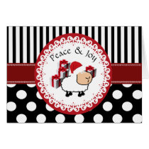 Funny whimsical cute Christmas sheep pattern Card