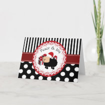 Funny whimsical cute Christmas sheep pattern Holiday Card