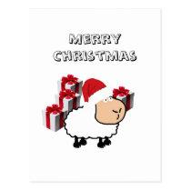 Funny whimsical cute Christmas sheep Postcard