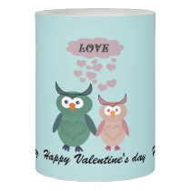 Funny whimsical cute owl love couple flameless candle