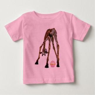 Funny Whimsical Giraffe and Cupcake Baby T-Shirt