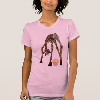 Funny Whimsical Giraffe and Cupcake T-Shirt