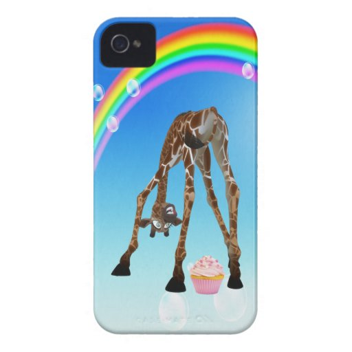 Funny Whimsical Giraffe, Cupcake & Rainbow iPhone 4 Case
