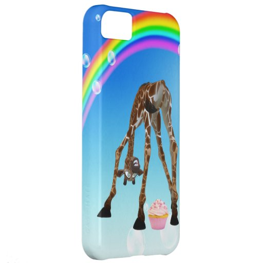 Funny Whimsical Giraffe, Cupcake & Rainbow iPhone 5C Covers
