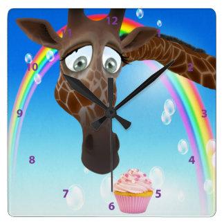 Funny Whimsical Giraffe, Cupcake & Rainbow Wall Clock