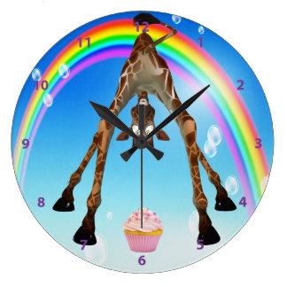 Funny Whimsical Giraffe Cupcake Rainbow Round Wallclocks