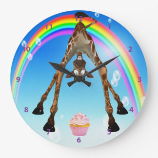 Funny Whimsical Giraffe Cupcake & Rainbow Large Clock