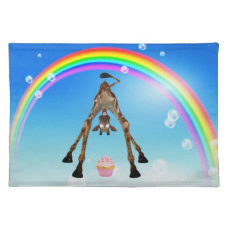 Funny Whimsical Giraffe Cupcake & Rainbow Placemat Cloth Placemat