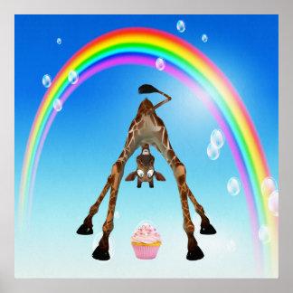 Funny Whimsical Giraffe, Cupcake & Rainbow Poster