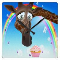 Funny Whimsical Giraffe, Cupcake & Rainbow Square Wall Clock