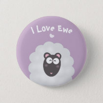 Funny Whimsical Pun I Love You Cute Pastel Purple Button