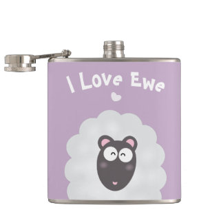 Funny Whimsical Pun I Love You Cute Pastel Purple Flask