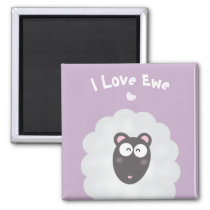 Funny Whimsical Pun I Love You Sweet Pastel Purple Magnet