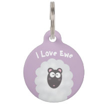Funny Whimsical Pun I Love You Sweet Pastel Purple Pet ID Tag