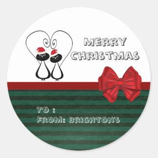 Funny whimsical Santa cat love couple gift tag