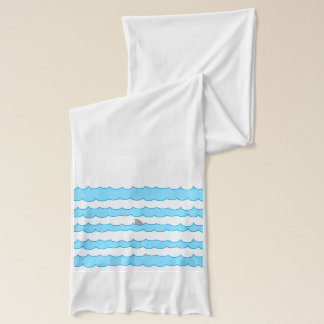 Funny Whimsical Shark Fin on Water Illustration Scarf
