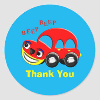 Funny Whimsy Cartoon Car Personalized Classic Round Sticker