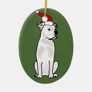 Funny White American Bulldog Christmas Design Ceramic Ornament