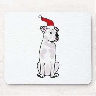 Funny White American Bulldog Christmas Design Mousepad