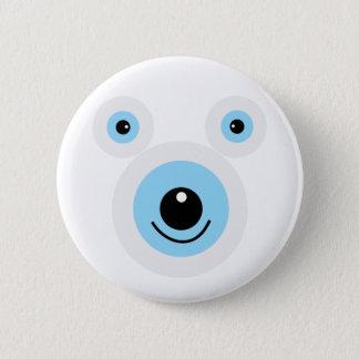 Funny white bear face pinback button