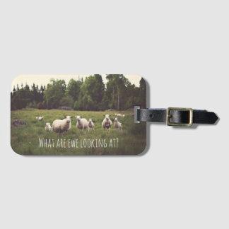 Funny White Fluffy Sheep & Lamb Field Trees Rocks Bag Tag