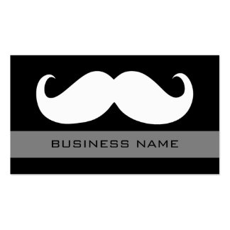 Funny White Mustache and Plain Black Double-Sided Standard Business Cards (Pack Of 100)