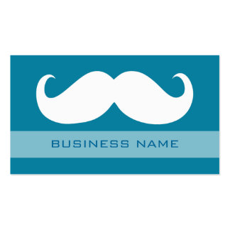 Funny White Mustache and Plain Blue Business Card