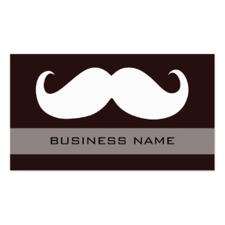 Funny White Mustache and Plain Brown Business Card