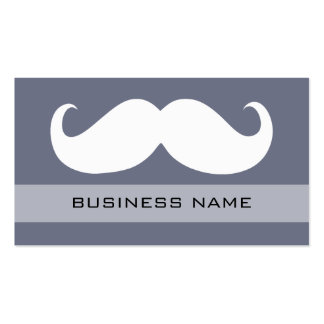 Funny White Mustache and Plain Grey Business Card