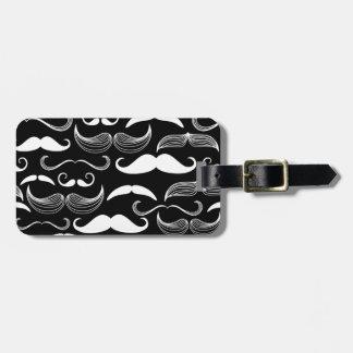 Funny White Mustache Design on Black Bag Tag