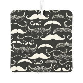 Funny White Mustache Design on Black Car Air Freshener