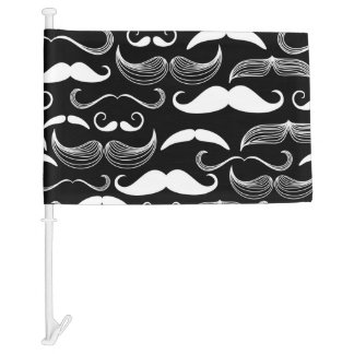 Funny White Mustache Design on Black Car Flag