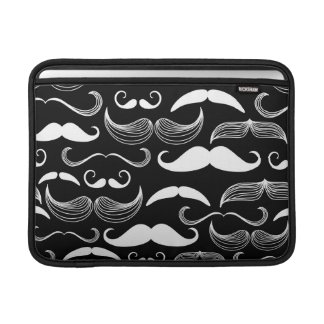 Funny White Mustache Design on Black Sleeves For MacBook Air