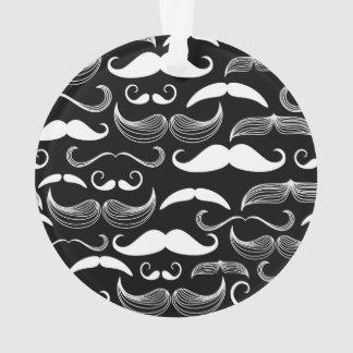 Funny White Mustache Design on Black Ornament
