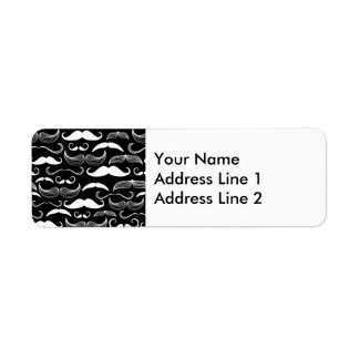 Funny White Mustache Design on Black Return Address Label
