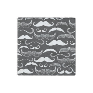 Funny White Mustache Design on Black Stone Magnet