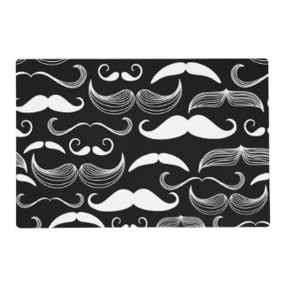 Funny White Mustache Design on Black Wall Decal Placemat