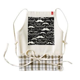Funny White Mustache Design on Black Zazzle HEART Apron