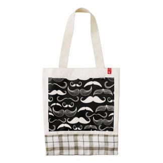Funny White Mustache Design on Black Zazzle HEART Tote Bag