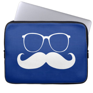 Funny White Mustache Glasses on Blue Background Computer Sleeves