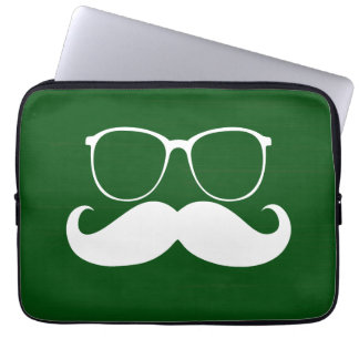 Funny White Mustache Glasses on Green Background Computer Sleeves